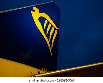 WROCLAW, POLAND - DECEMBER 14, 2018: The Ryanair company emblem or logotype on airplane tail