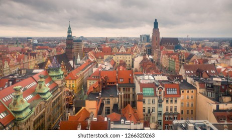 Wroclaw, Poland - December 23, 2018 - Wroclaw cityscape landmark view from the cathedral on a cloudy day