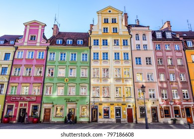 WROCLAW, POLAND - December 30 2017: Colorful townhouses in medieval market square (Rynek)
