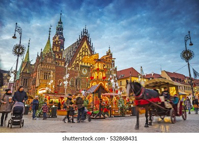 WROCLAW, POLAND - DECEMBER 7, 2016: Christmas Market at night