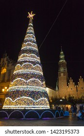 WROCLAW, POLAND - DECEMBER 7, 2017: New year tree in the heart of Wroclaw near townhall