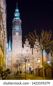 WROCLAW, POLAND - DECEMBER 7, 2017: Old townhall of Wroclaw at night