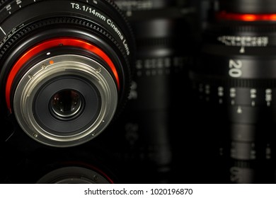 WROCLAW, POLAND - FEBRUARY 08, 2018 Professional Cinema Lens Xeen Samyang - camera lenses on the mirroring black background - illustrative editorial.