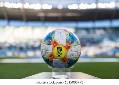 WROCLAW, POLAND - FEBRUARY 10, 2019: Match Polish Lotto Ekstraklasa  between Slask Wroclaw - Zaglebie Sosnowiec 2:1. Match ball presentation.