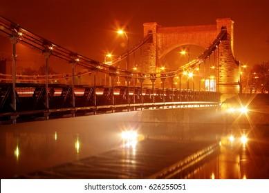 Wroclaw, Poland – HDR of famous Grunwaldzki Bridge over Oder River, stunning night scenery