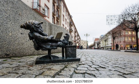 Wroclaw, Poland - January 03 2018: Mini statue of the Dwarf with laptop on the street of Wroclaw