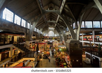 Wroclaw, Poland - January 04 2018: People are visiting to Wrocaw Market Hall; it building was designed by Richard Plddemann and built in 1908