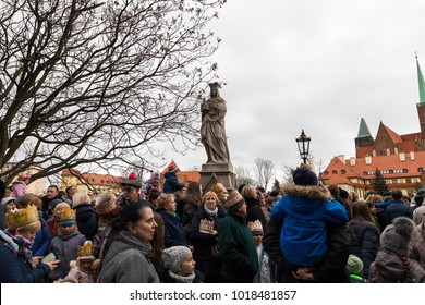 Wroclaw, Poland - January 06 2018: Festive procession of people on the street of Wroclaw during the celebration of the Three Kings