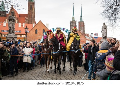 Wroclaw, Poland - January 06 2018: Horseriders on the street of Wroclaw during the celebration of the Three Kings