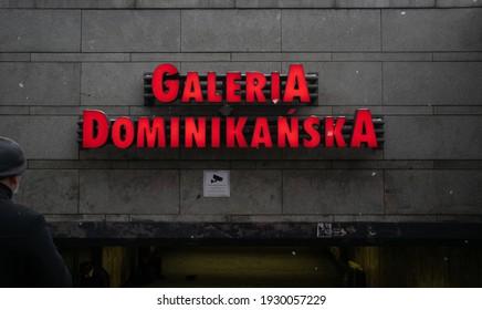 Wroclaw, Poland- January 18, 2020; Image of Galeria Dominikanska sign in Wroclaw.