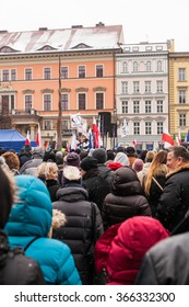 WROCLAW, POLAND - JANUARY 23, 2016: The demonstration of the Committee of the Defence of the Democracy KOD for free media /wolne media/ and democracy against PIS government. Wroclaw , Poland