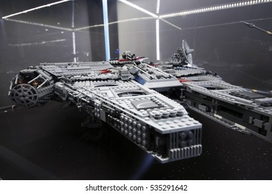 Wroclaw, POLAND - January 25, 2014: Star Wars Falcon Millenium, made by Lego blocks.