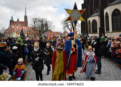 WROCLAW, POLAND - JANUARY 6, 2017: Epiphany holiday in Christian religion. Traditional procession, reconstruction of visit of the Magi to the infant Jesus