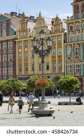 WROCLAW, POLAND - JULY 07, 2016: Architectue of the Market square in Wroclaw, Poland. Wroclaw is the historical capital of Silesia and Lower Silesia