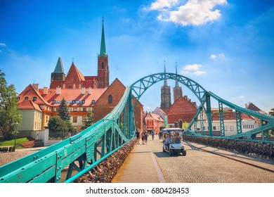 WROCLAW, POLAND - JULY 18, 2017: Wroclaw Old Town. Cathedral Island (Ostrow Tumski) is the oldest part of the city. Historic buildings on a summer day. Capital of Lower Silesia, Poland, Europe.