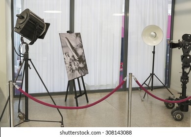"""WROCLAW, POLAND - JULY 19: An exhibition of photographs Milton. H. Green's """"Good Morning Marilyn"""" on 19 July 2015 in Wroclaw, Poland. The photos were bought at DESA auction by Wroclaw Enterprise Hala Ludowa."""