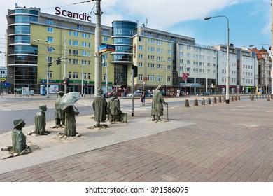 WROCLAW, POLAND, july 25, 2015 - Streets of Wroclaw, Poland - WROCLAW, POLAND, july 25, 2015