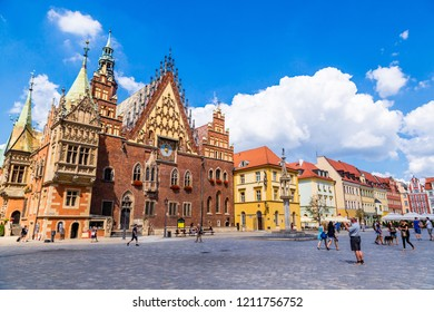 WROCLAW, POLAND - JULY 29, 2014: Old City Hall in Wroclaw, Poland on July 29, 2014. Wroclaw old and a very beautuful city in Poland in a summer day