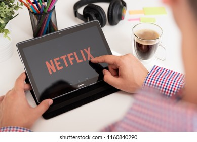 WROCLAW, POLAND - JULY 31, 2018: Netflix is a global provider of streaming movies and TV series.