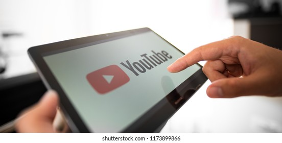 WROCLAW, POLAND - JULY 31, 2018: Youtube is most popular video service developed by Google.