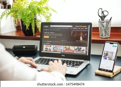 WROCLAW, POLAND - JULY 31th, 2019: Modern laptop on the desk in office with Amazon Prime application on the screen.  Amazon Prime Video, is an American VOD Internet service