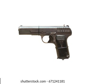 Wroclaw, Poland - July 4, 2017: Close up on TT33  handgun isolated on white