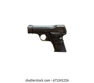 Wroclaw, Poland - July 4, 2017: Close up on Beholla 1918  handgun isolated on white