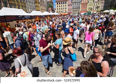 """Wroclaw, Poland - Jun 06, 2015: """"Europe on the Fork"""" event. Polish name is """"Europa na Widelcu"""". The idea for this festivities on the Market Square of Wroclaw is to show from European kitchens."""