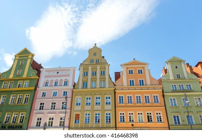 WROCLAW, POLAND - JUNE 04, 2015: Buildings of the Market Square.