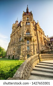 WROCLAW, POLAND - JUNE 15, 2019: Castle in Moszna near Opole, Poland. One of the most beautiful historic residences in Poland. The palace has 365 rooms and 99 towers and turrets.