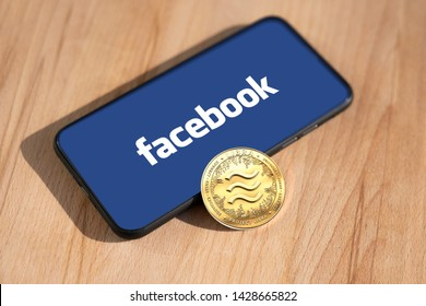 WROCLAW, POLAND - JUNE 19th, 2019: Facebook announces Libra cryptocurrency. Libra coin concept. - Image