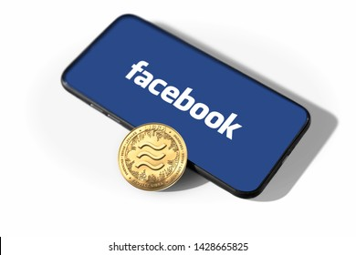 WROCLAW, POLAND - JUNE 19th, 2019: Facebook announces Libra cryptocurrency. Libra coin concept isolated on white background. - Image