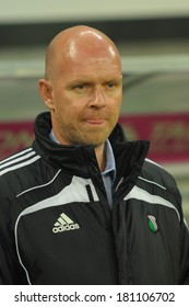 Wroclaw. POLAND - March 09: Match T-Mobile Ekstraklasa between Wks Slask Wroclaw and Legia Warszawa. Henning Berg new coach of Legia Warszawa on March 09, 2014 in Wroclaw. Poland.