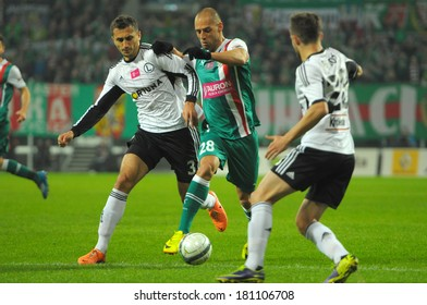 Wroclaw. POLAND - March 09: Match T-Mobile Ekstraklasa between Wks Slask Wroclaw and Legia Warszawa. Flavio Paxiao in action on  March 09, 2014 in Wroclaw. Poland.