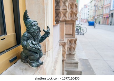 Wroclaw, Poland, March 2019. Dwarf, Wroclaw Famous gnome miniature statue located in city center