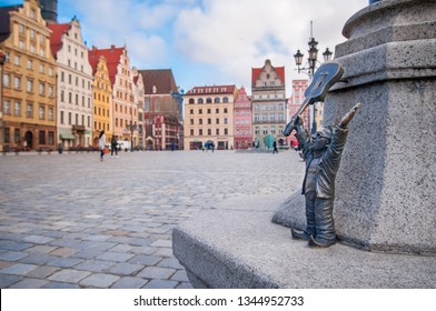 "Wroclaw, Poland, March 2019 ""Guinness world Guitar record"" Dwarf, gnome, . famous small statues in Wroclaw, over 350 all together."