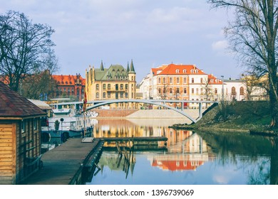 Wroclaw, Poland - March 23, 2016: A very charming corner of Wroclaw bordering the National Museum and the Racławice Panorama. A marvellous view of Ostrów Tumski from Gondola Bay.
