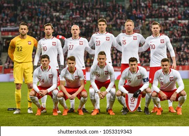 WROCLAW, POLAND - MARCH 23, 2018: Friendly match Poland vs Nigeria 0:1. Team of Poland before the match.