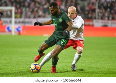 WROCLAW, POLAND - MARCH 23, 2018: Friendly match Poland vs Nigeria 0:1. In action Brian Idowu (L) and Rafal Kurzawa (R).