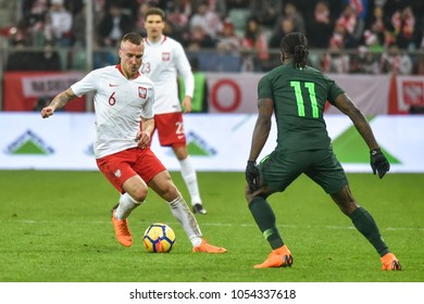 WROCLAW, POLAND - MARCH 23, 2018: Friendly match Poland vs Nigeria 0:1. In action Jacek Goralski.