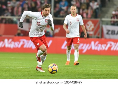 WROCLAW, POLAND - MARCH 23, 2018: Friendly match Poland vs Nigeria 0:1. In action Grzegorz Krychowiak (10).