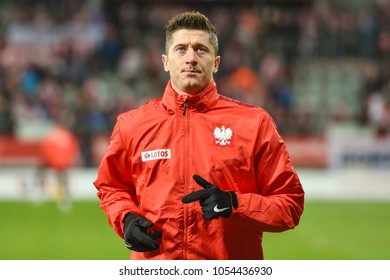 WROCLAW, POLAND - MARCH 23, 2018: Friendly match Poland vs Nigeria 0:1. Robert Lewandowski during warm-up.