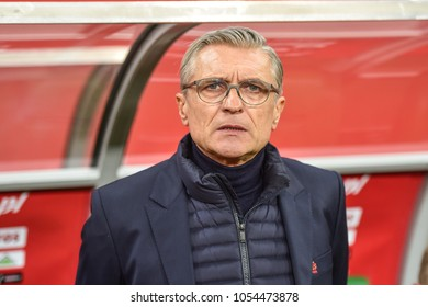 WROCLAW, POLAND - MARCH 23, 2018: Friendly match Poland vs Nigeria 0:1. In the picture Adam Nawalka head coach of Poland