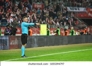 WROCLAW, POLAND - MARCH 23, 2018: Friendly match Poland vs Nigeria 0:1.  Assistant referee Stuart Burt.