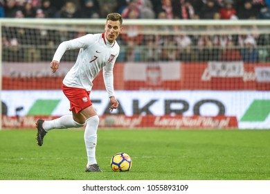 WROCLAW, POLAND - MARCH 23, 2018: Friendly match Poland vs Nigeria 0:1. In action Arkadiusz Milik.