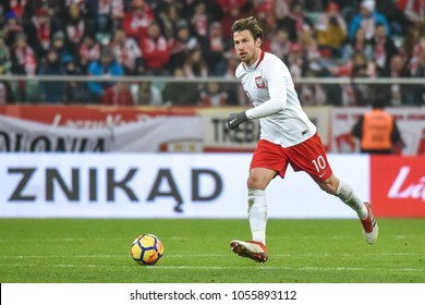 WROCLAW, POLAND - MARCH 23, 2018: Friendly match Poland vs Nigeria 0:1. In action Grzegorz Krychowiak.