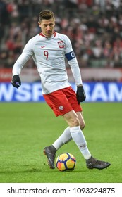 WROCLAW, POLAND - MARCH 23, 2018: Friendly match Poland vs Nigeria 0:1. In action Robert Lewandowski