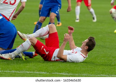 WROCLAW, POLAND - MARCH 26, 2016: Arkadiusz Milik from Poland in action during the friendly football match between Poland and Finland at the Municipal Stadium in Wroclaw.