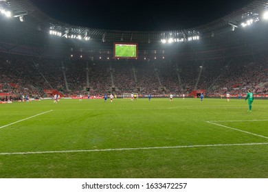 WROCLAW, POLAND - MARCH 26, 2016: Municipal Stadium in Wroclaw during the friendly football match between Poland and Finland. The Stadium is a UEFA Category Four association football stadium.