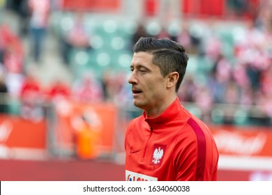 WROCLAW, POLAND - MARCH 26, 2016: Robert Lewandowski from Poland before the friendly football match between Poland and Finnland at the Municipal Stadium in Wroclaw.